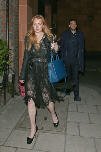dress lace lace dress midi dress black dress lindsay lohan