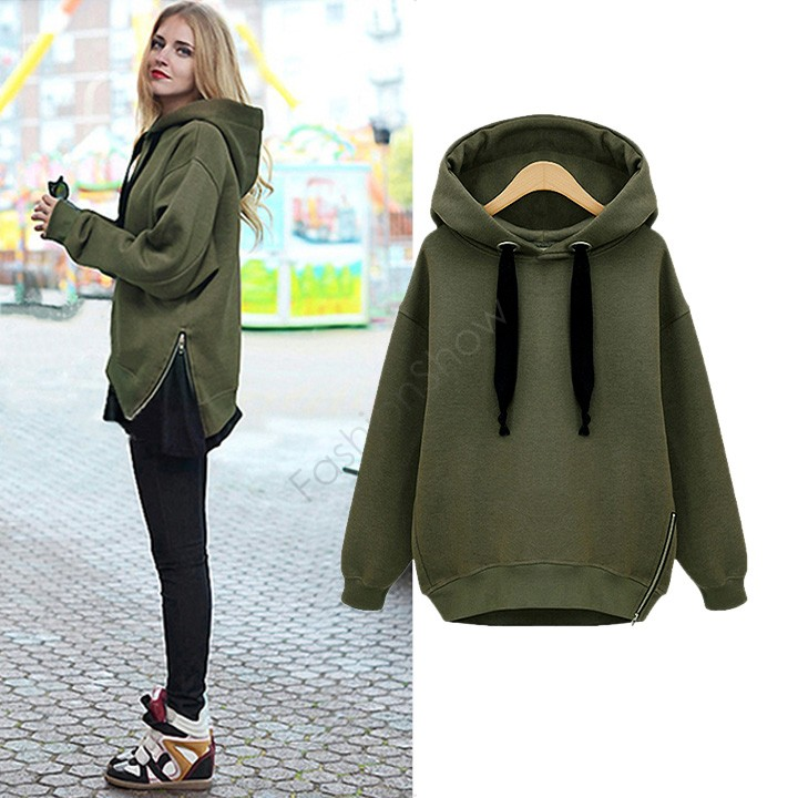 Selling Women Fashion Side Zipper Hoody Sweatershirt Ladies Spring ...