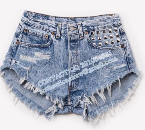 Free shipping  bo73  Fashion SPIKED STUDDED FESTIVAL HIGH WAISTED SHORTS VINTAGE-inJeans from Apparel & Accessories on Aliexpress.com