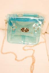 bag,sac,transparent,gold chain,plastic,glitter,aqua,gold,satchel bag