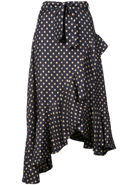 Zimmermann skirt polka dot skirt women blue silk