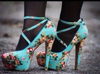 shoes pumps mary jane blue heels straps fashion cute cute high heels floral flowers floral heels