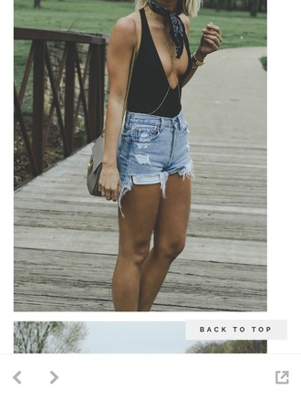 shorts denim shorts ripped backless black leotard