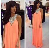 dress,clothes,maxi dress,peach dress,diamonds,summer,evening dress