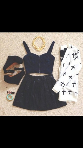 shirt cute weekend outfit navy blue crop top black skater skirt black and white cross sweater black heels jewels