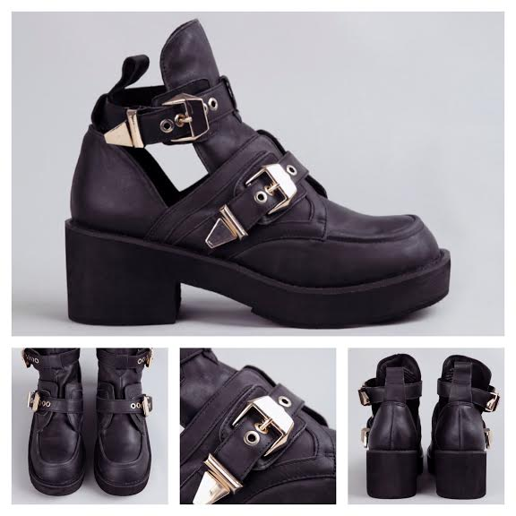 Jeffrey Campbell Gold Buckle Black Leather Coltranes
