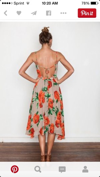 dress flowers dress strappy spring dress summer dress orange dress pink dress fashion strapless dresses beige dress