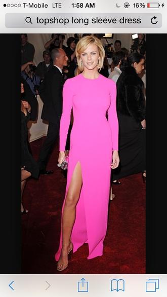 dress pink long sleeve dress