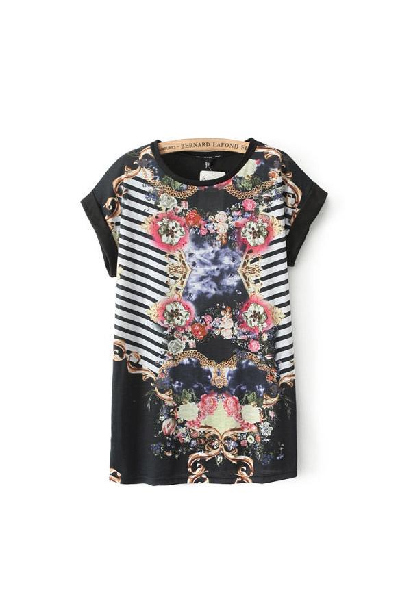 Black Abstract Print Stripe Spliced T-shirt, Cheap fashion online store- FOYMALL