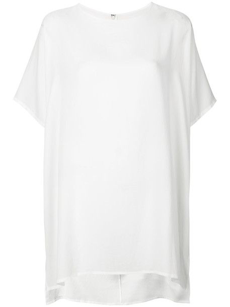Y's - oversized T-shirt - women - Polyester/Triacetate - 2, White, Polyester/Triacetate