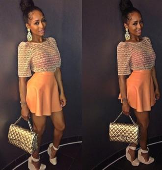 shoes blouse skirt peach crochet top circle skirt