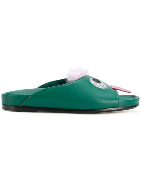 Anya Hindmarch eyes women leather green shoes