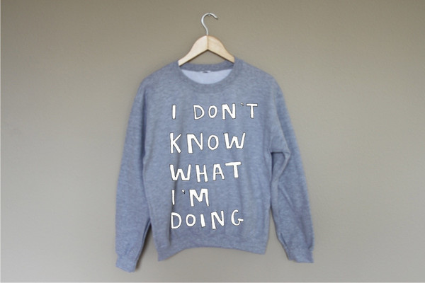 sweater grey writing white cute