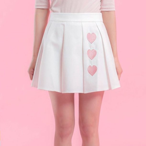 skirt girly tumblr white pleated pleated skirt heart pink