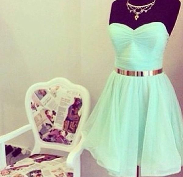 dress mint gold belt strapless knee length flows mint dress party dress