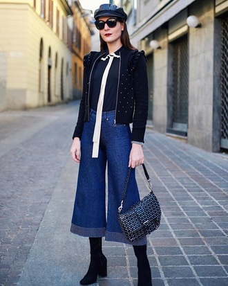jeans culottes black top black black jacket fisherman cap denim culottes denim blue jeans top jacket