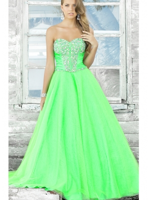 Buy Beautiful Hunter Green Sweetheart Neckline Beadings Ball Gown Tulle Prom Dress  under 300-SinoAnt.com