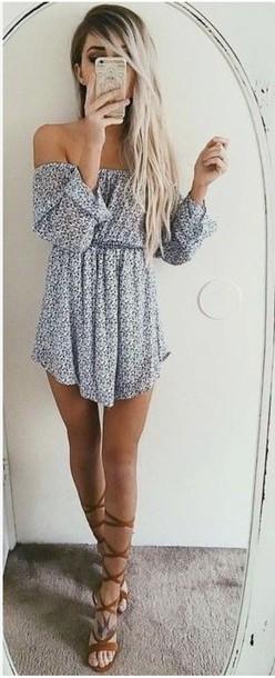 dress off the shoulder dress long sleeves summer dress