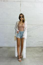 twenties girl style,blogger,top,shorts,shoes,bag,sunglasses,lace cardigan