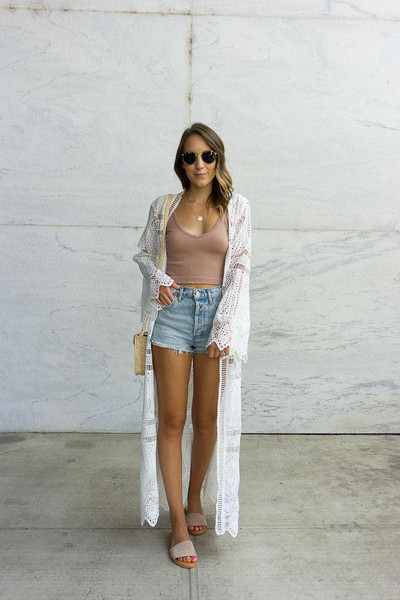 twenties girl style blogger top shorts shoes bag sunglasses lace cardigan