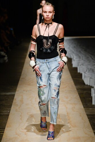 top jeans runway model sydney fashion week fashion week ripped jeans sass & bide