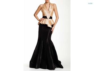 dress formal dress gown satin dress trumpet halter neck black and gold