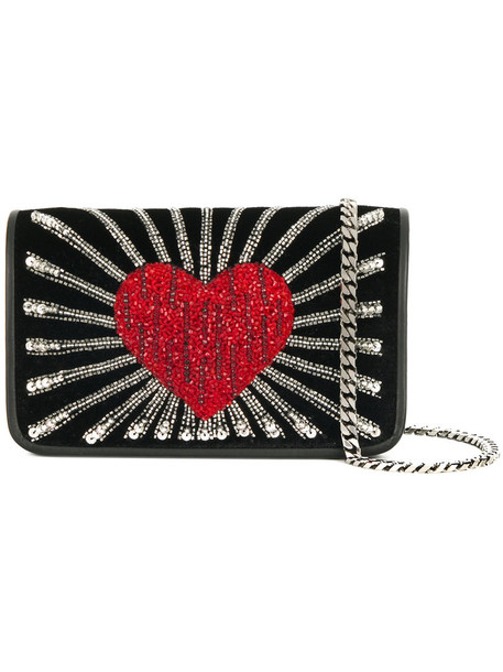 Les Petits Joueurs heart women embellished bag shoulder bag leather cotton black