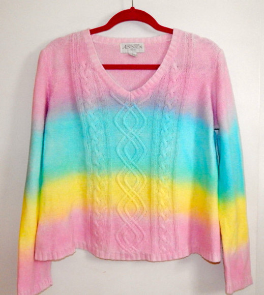 clothing women's sweater rainbow tie dye dip dye dyed pastel jumper shirt top pink blue yellow