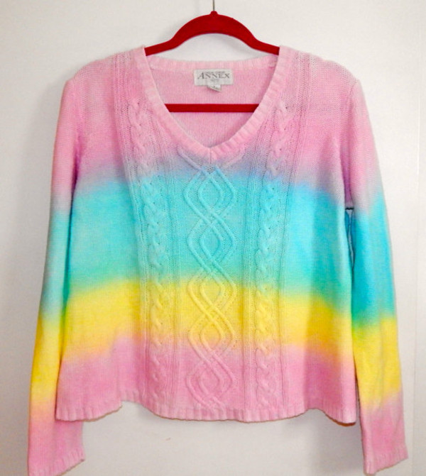 sweater rainbow tie dye dip dyed dyed pastel jumper shirt top women's clothes pink blue yellow