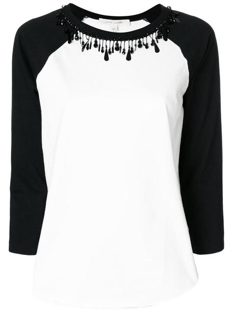 Marc Jacobs t-shirt shirt t-shirt women beaded white cotton top