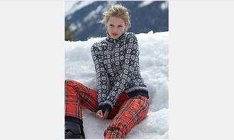 pants red pants tartan skiing ski pants winter sports