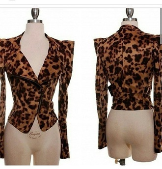 jacket blazer animal print leopard print coat long sleeves fashion top