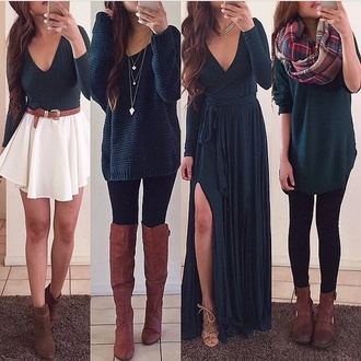 dress green maxi scarf belt skirt outfit girly cute chic boots brown boots necklace high heels high heel shoes style black leggings top sleeve long sleeve top boho necklace long sleeve dress sweater