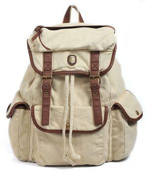 Vintage Women Girl Canvas leather backpack Rucksack satchel school book bags XB | eBay