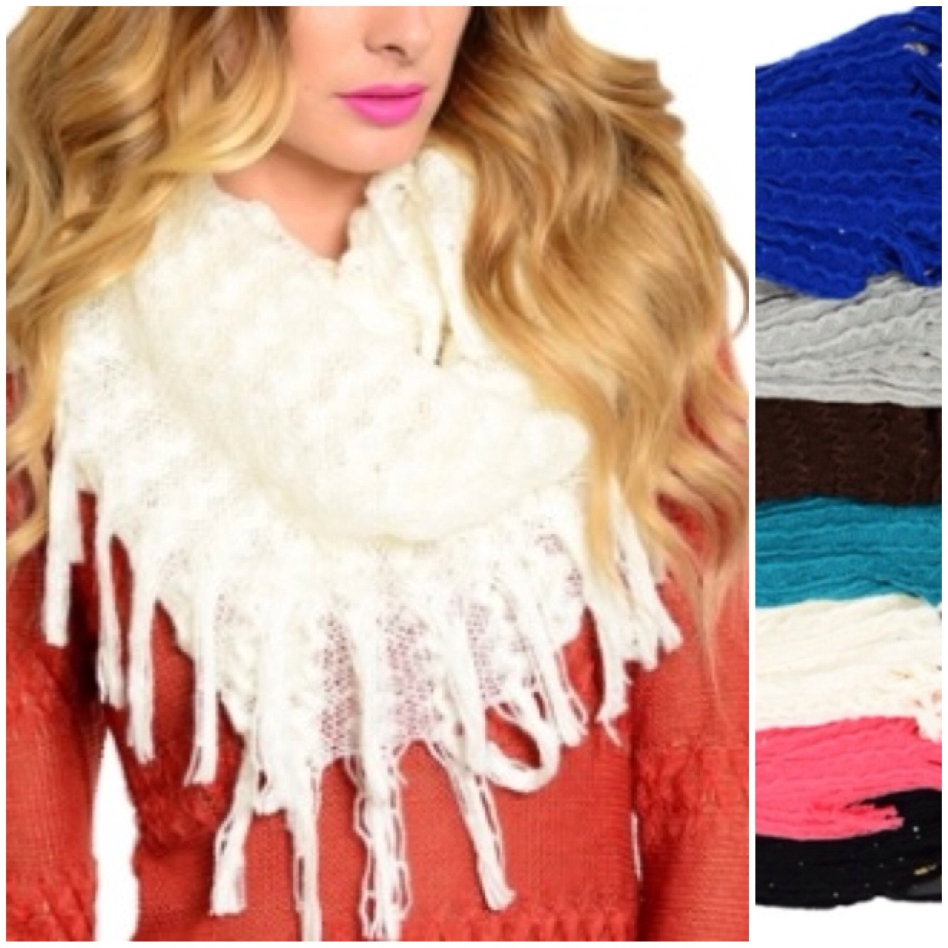 Eye catching glimmering accented knit fringe infinity scarves