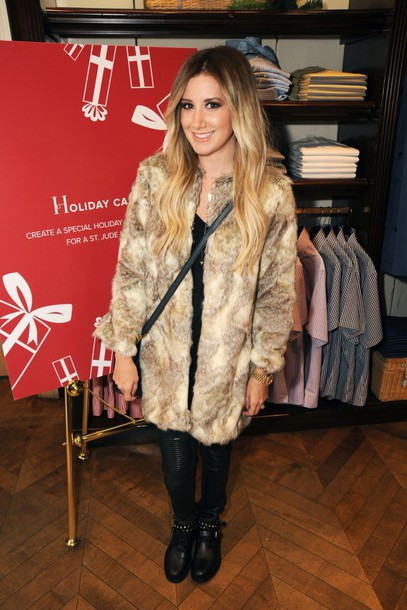ashley tisdale fur coat coat