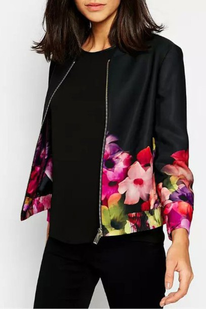 Jacket: back to school, black, floral, all black everything ...