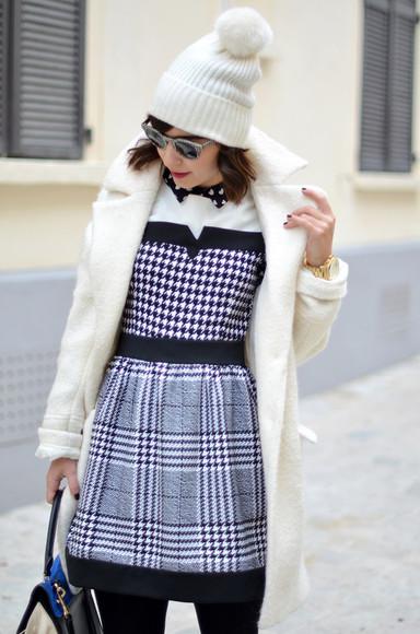 valentine coat dress hat sunglasses