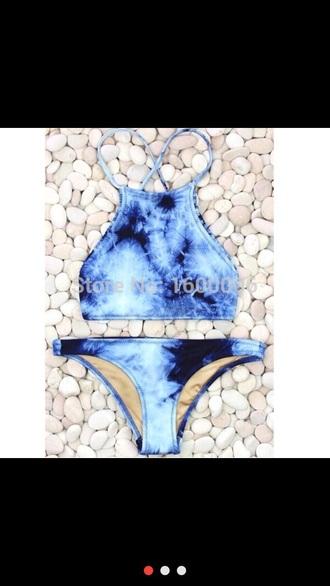 swimwear blue tie dye halter neck bikini summer top strappy bikini