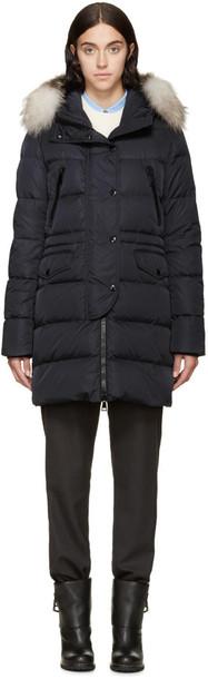 coat fur navy