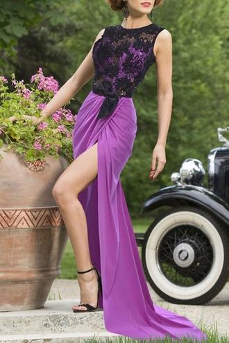 dress lace sleeveless prom dress gown black purple women long dress style zaful