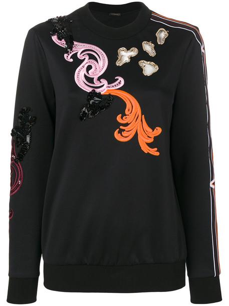 Versace - Baroque embroidered sweatshirt - women - Polyester/Spandex/Elastane - 36, Black, Polyester/Spandex/Elastane