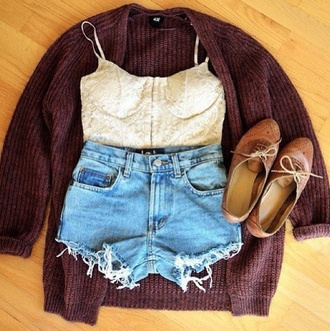 sweater denim cardigan bralette blouse shorts clothes shoes tank top high waisted knit crop tops cute outfit top shirt tumblr outfit white lace denim shorts high waisted shorts earphones swimwear