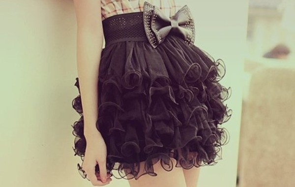 skirt black black skirt puffy skirt poofy skirt bow cute
