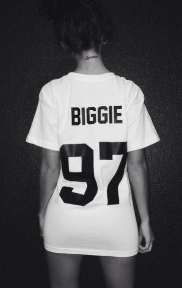black white t-shirt cute biggie sexy