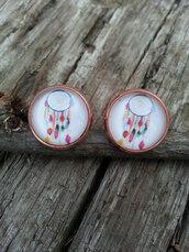 jewels,the glitzy hen,dreamcatcher,rose gold,rose gold earrings,stud earrings,tribal pattern,indian,fashion jewelry