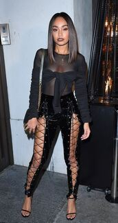 pants,lace up,blouse,top,see through,see through top,london fashion week 2017,all black everything,leigh-anne pinnock,little mix,streetstyle