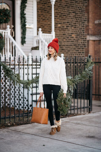 shoes tumblr boots ugg boots brown boots winter boots pants sweater white sweater knit knitwear knitted sweater cable knit beanie pom pom beanie red beanie