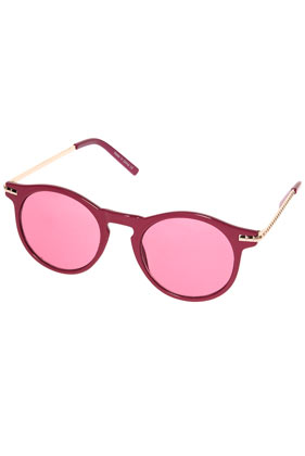 Pink keyhole metal arm sunglasses