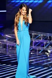 dress,cheryl fernandez,blue,gown,prom dress,v neck dress